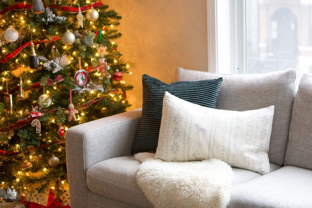Dark green and white pillows for Christmas