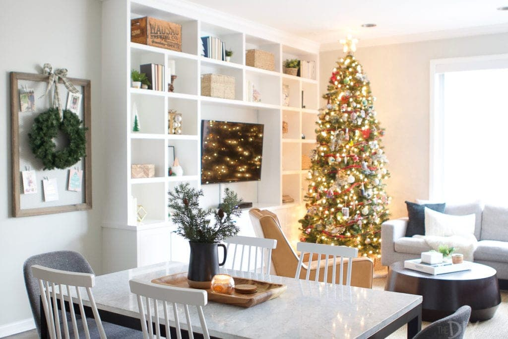 Dining and family room decorated for Christmas