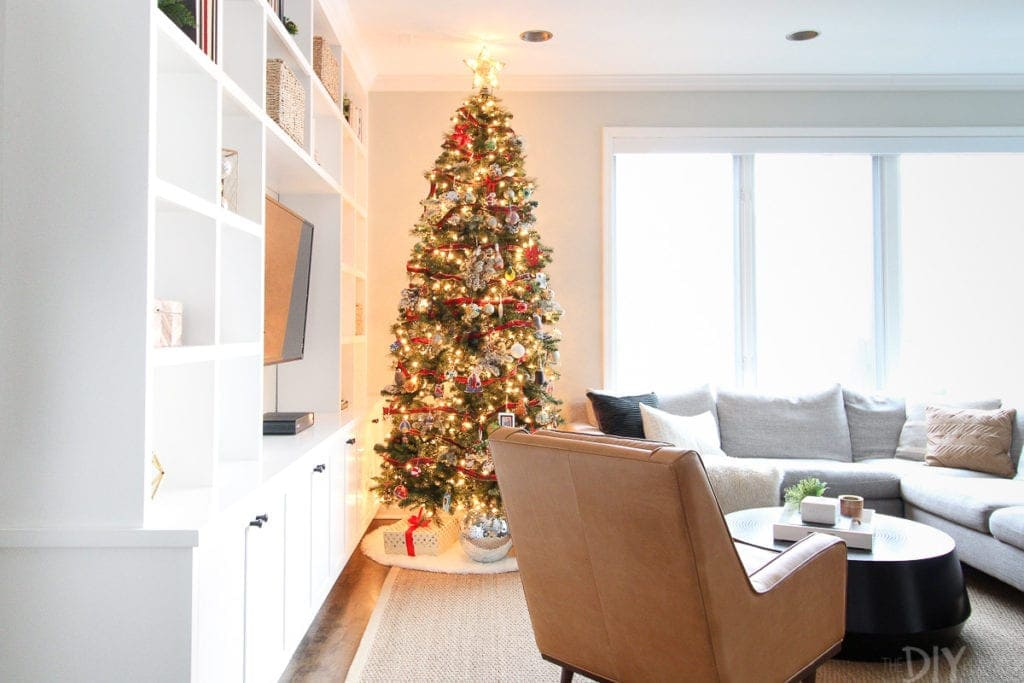 Christmas home tour with a Christmas tree in the family room