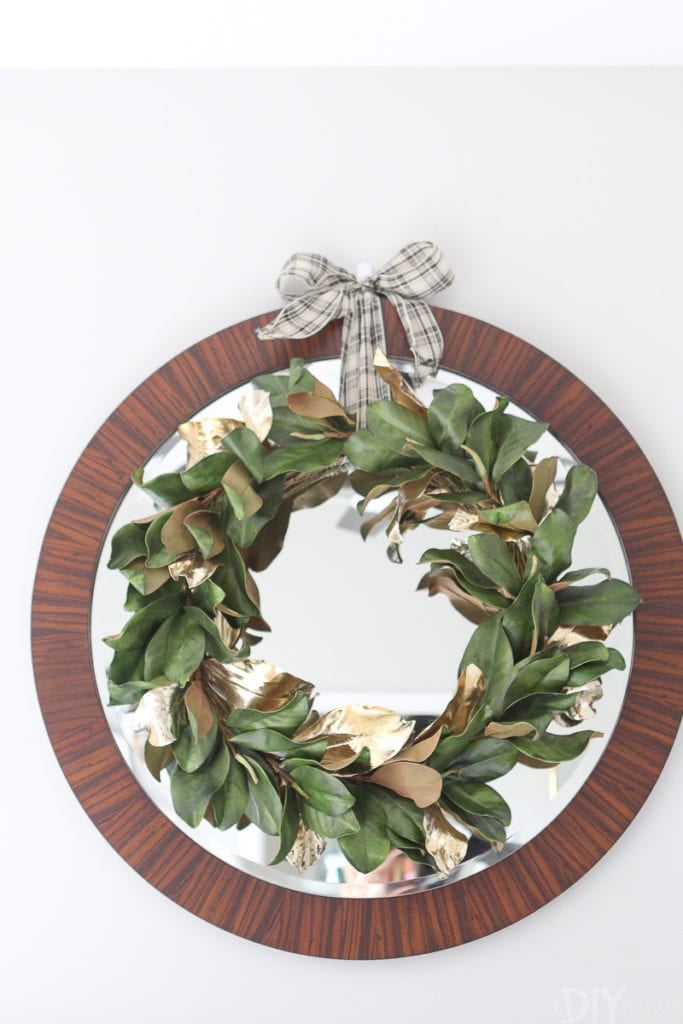 Gold metallic magnolia wreath from West Elm