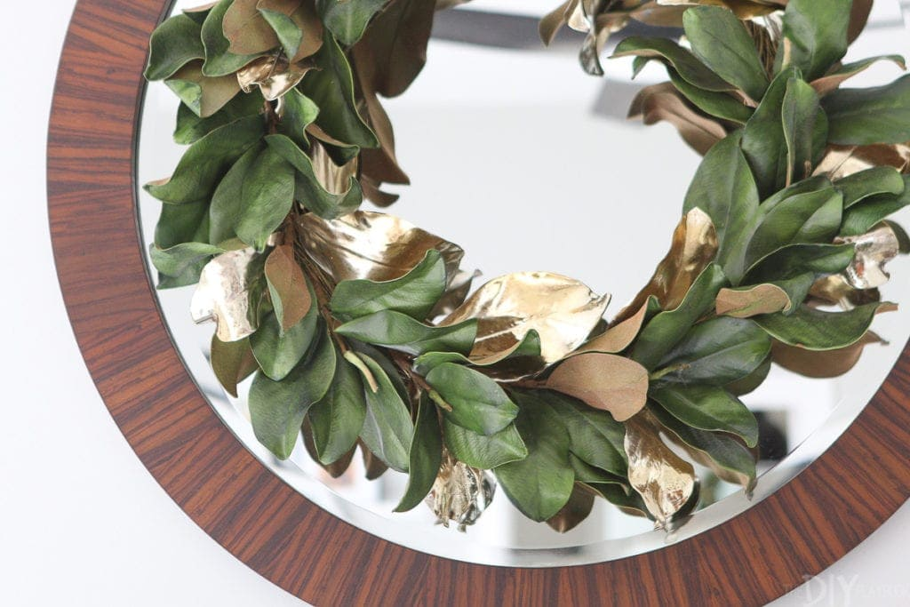 Gold and green holiday wreath