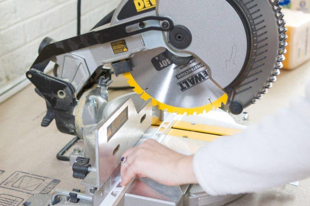 cutting schluter with miter saw