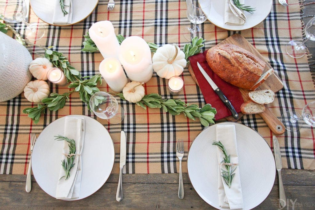 Use a patterned scarf as a table runner