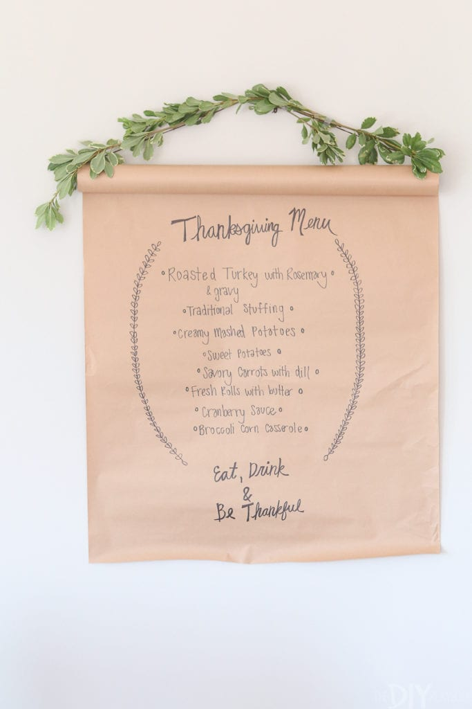 DIY menu board for Thanksgiving dinner