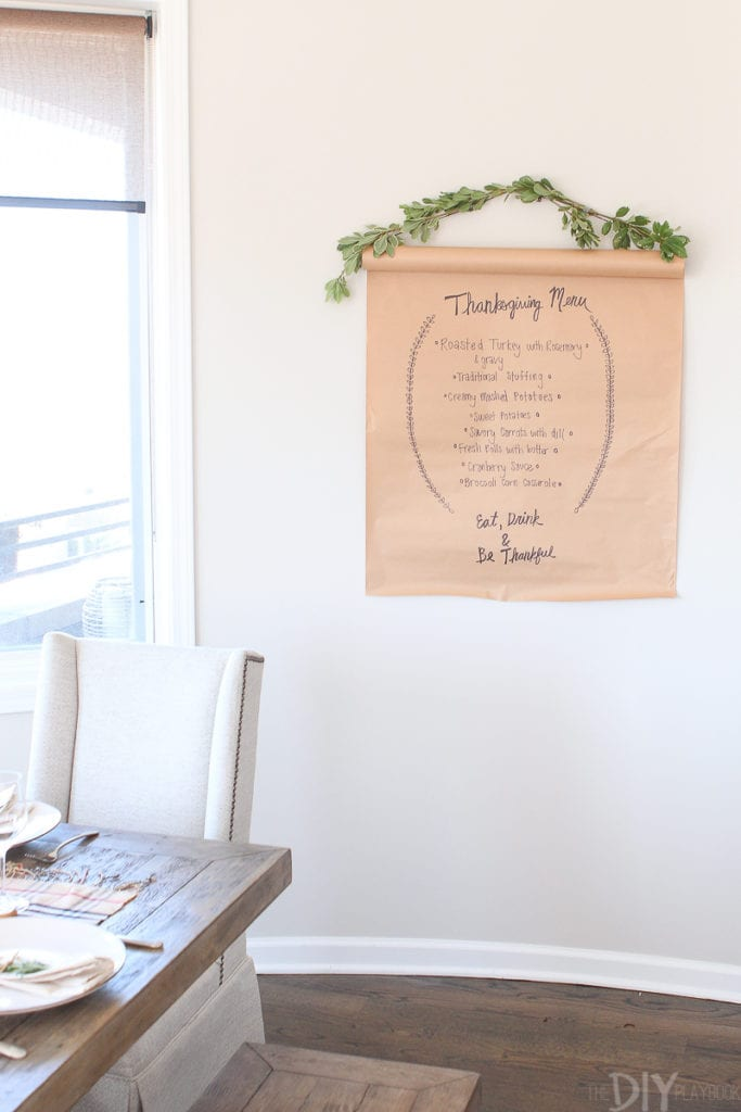 DIY menu board for Thanksgiving