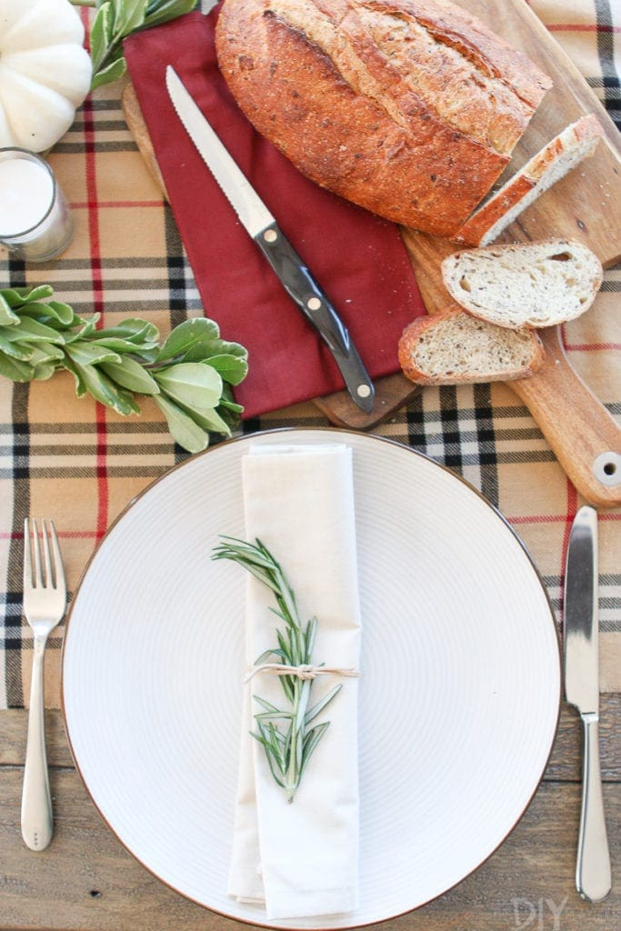 Use rosemary on your Thanksgiving tablescape