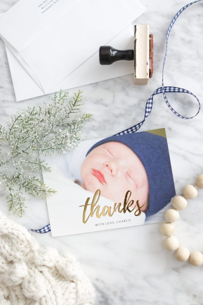 newborn photos into thank you card