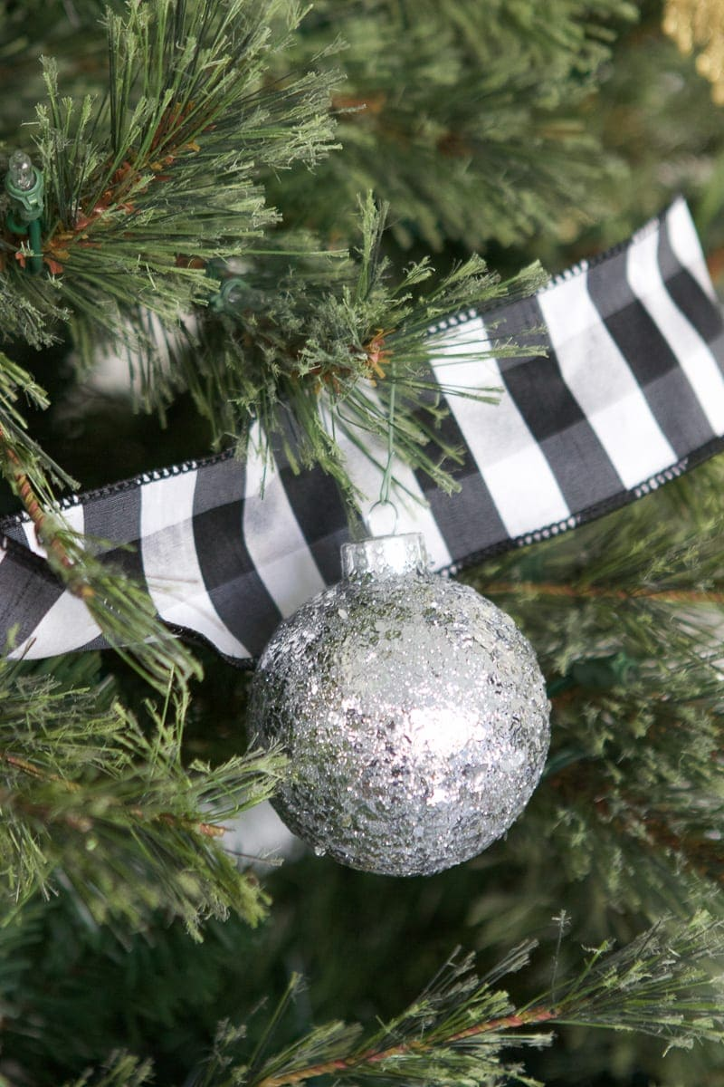 buffalo check ribbon neutral ornaments