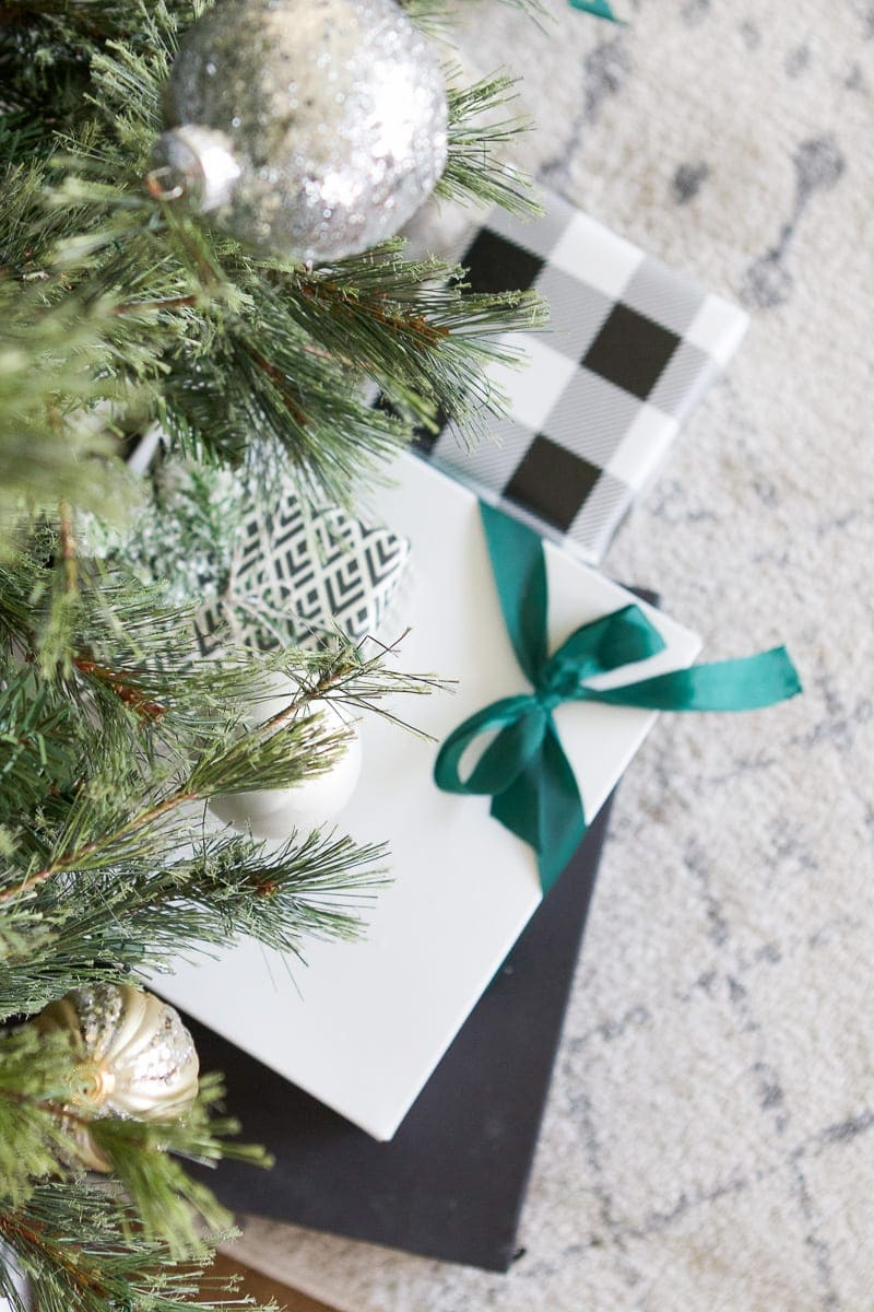 gifts with green ribbon