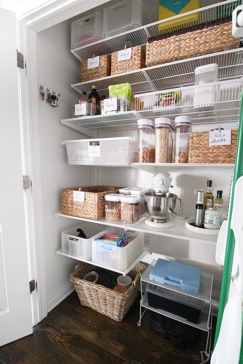 Organizing a pantry with wicker baskets