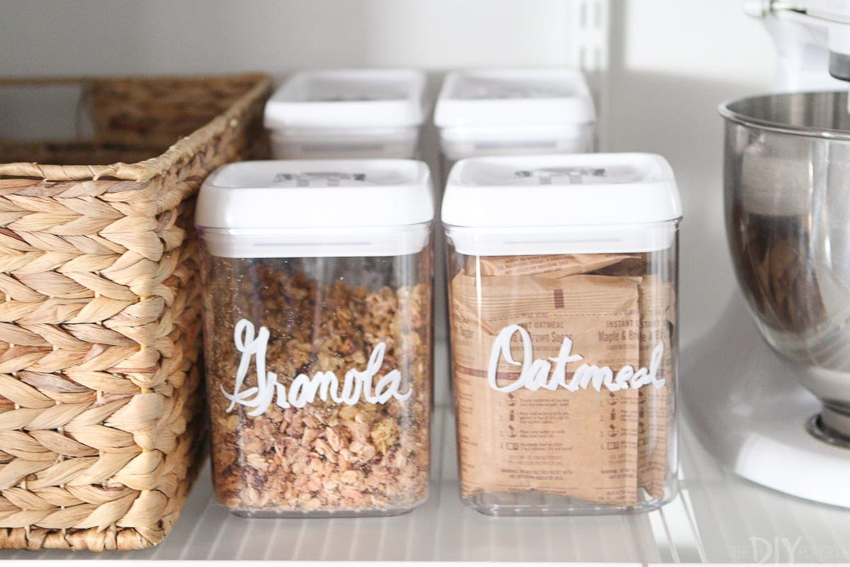 Granola and oatmeal organized in a pantry