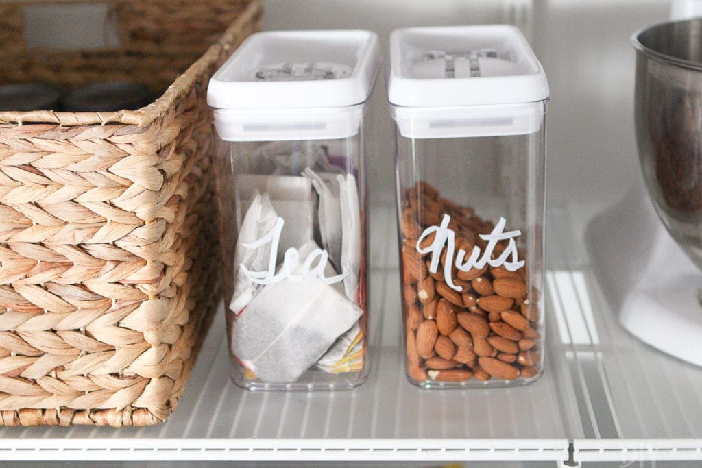 Label clear containers with chalk marker