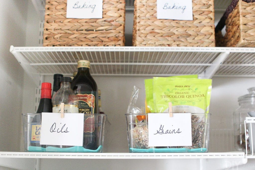 Clear refrigerator bins to organize pantry staples