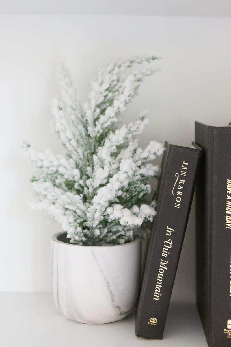 decor on christmas shelf