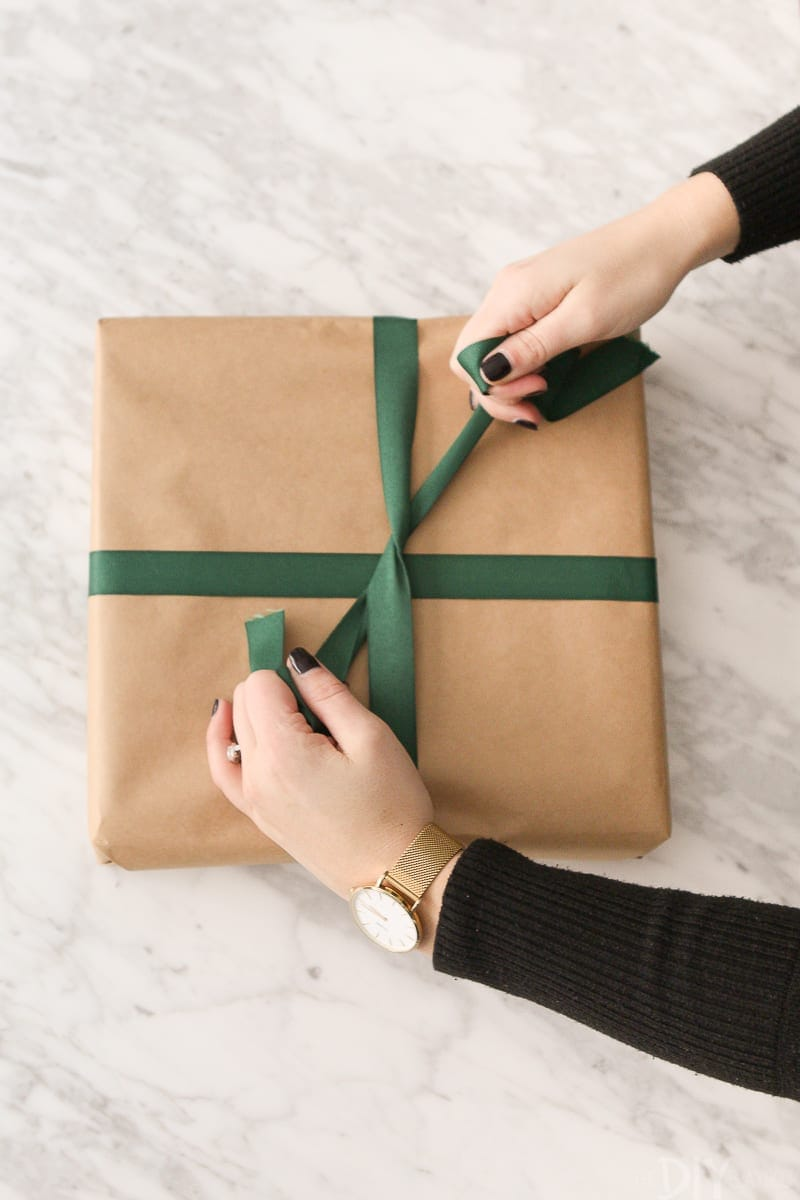 Tie ribbon to a gift