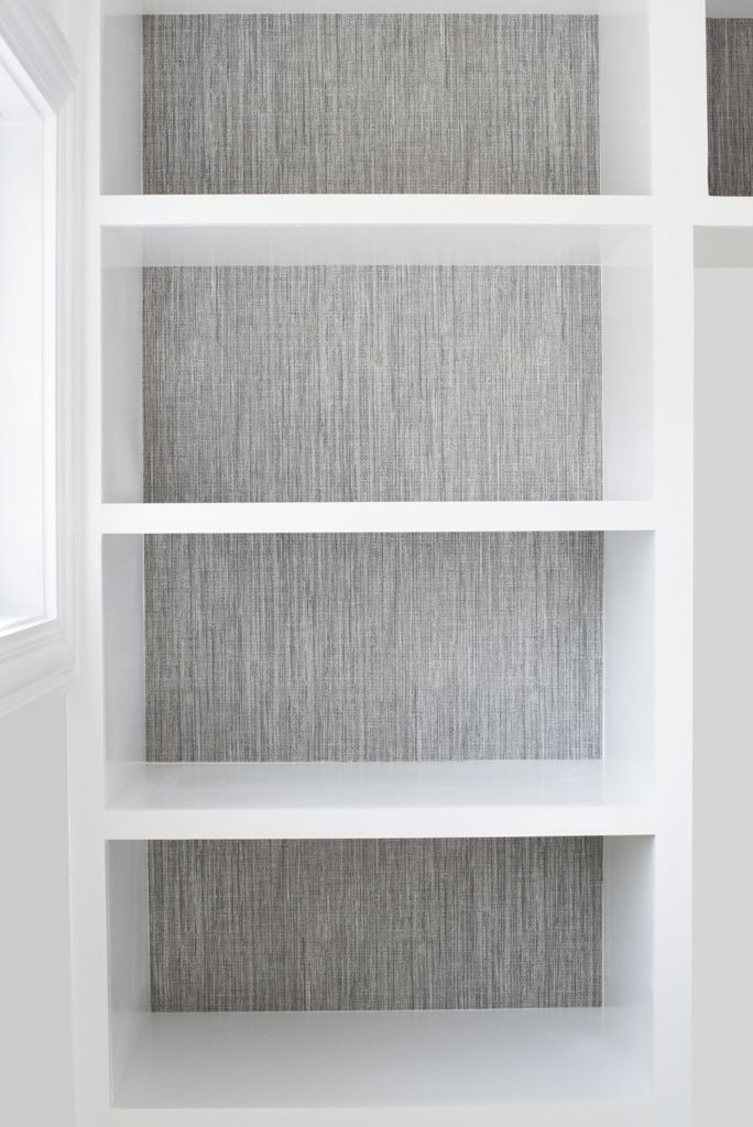 Wallpaper built-ins with grasscloth