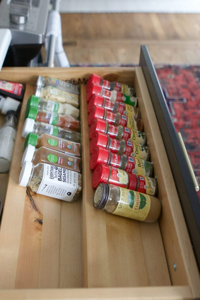 built-in spice drawer organizer