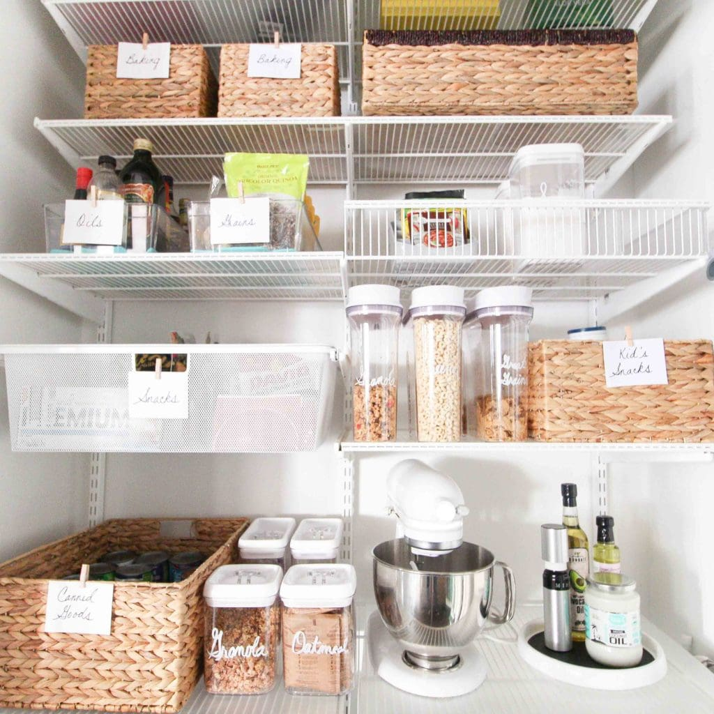 How to organize a pantry with wicker baskets