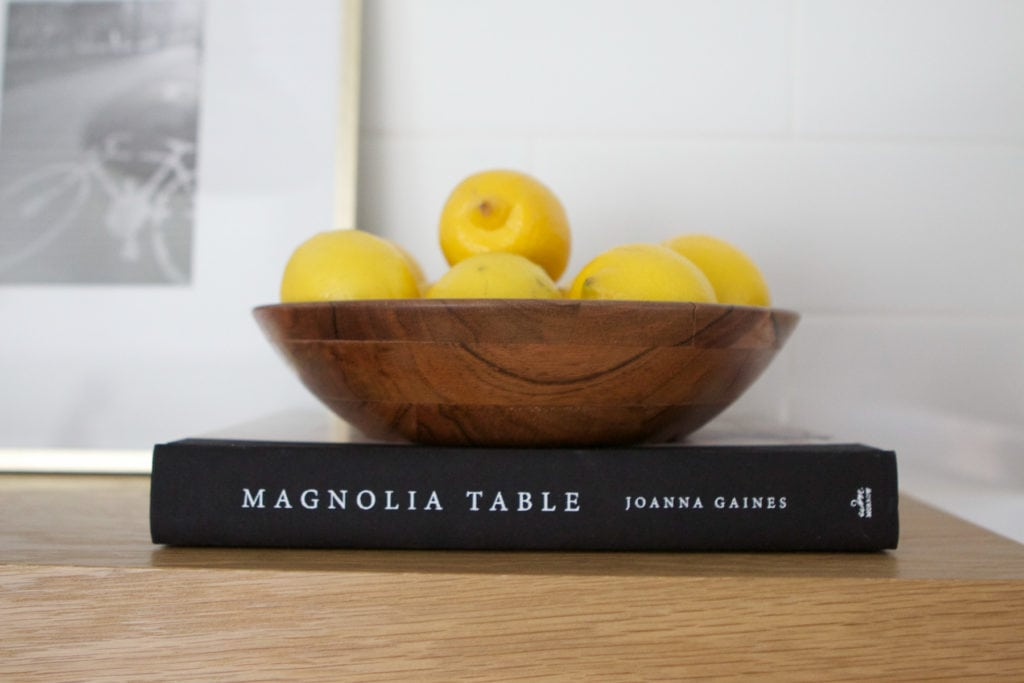 fruit bowl on kitchen shelves