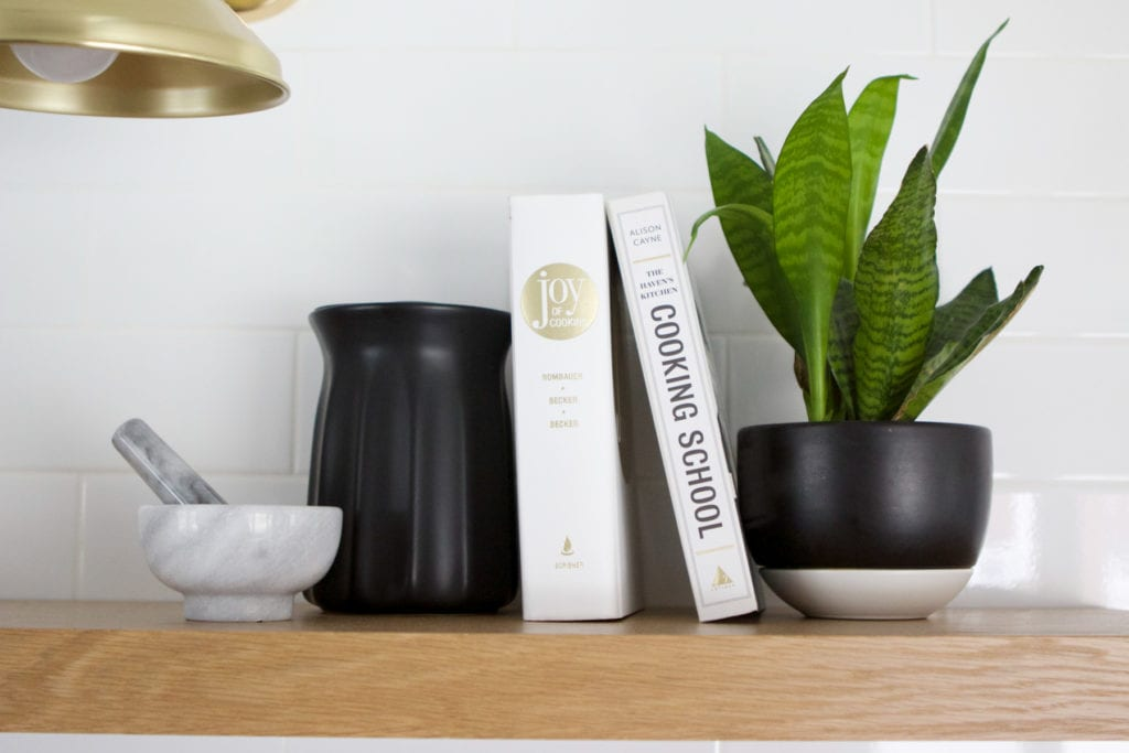 kitchen accessories on open shelving