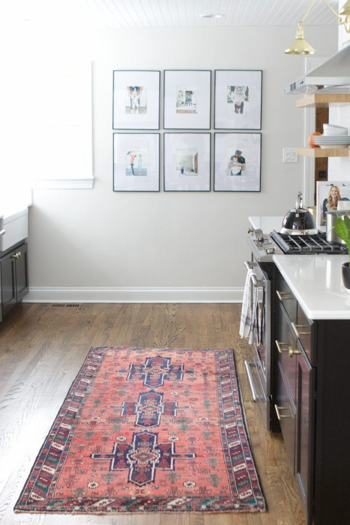 vintage rugs in the kitchen