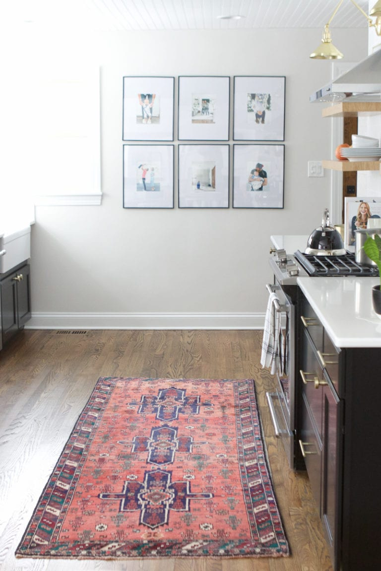 Adding a vintage rug to the kitchen