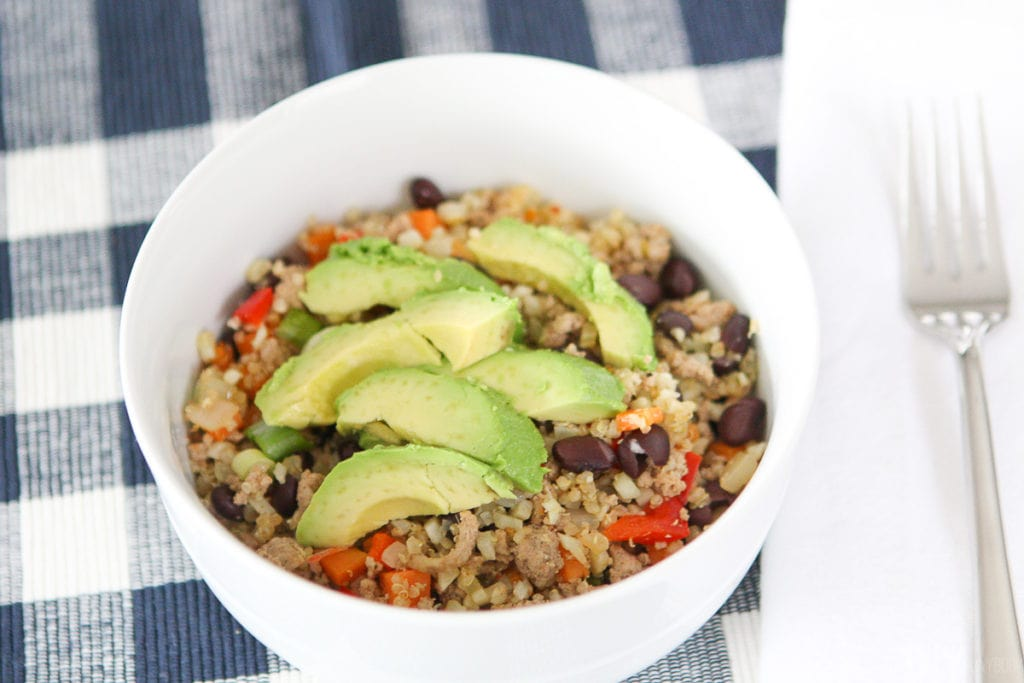 Protein bowl recipe with ground turkey and veggies