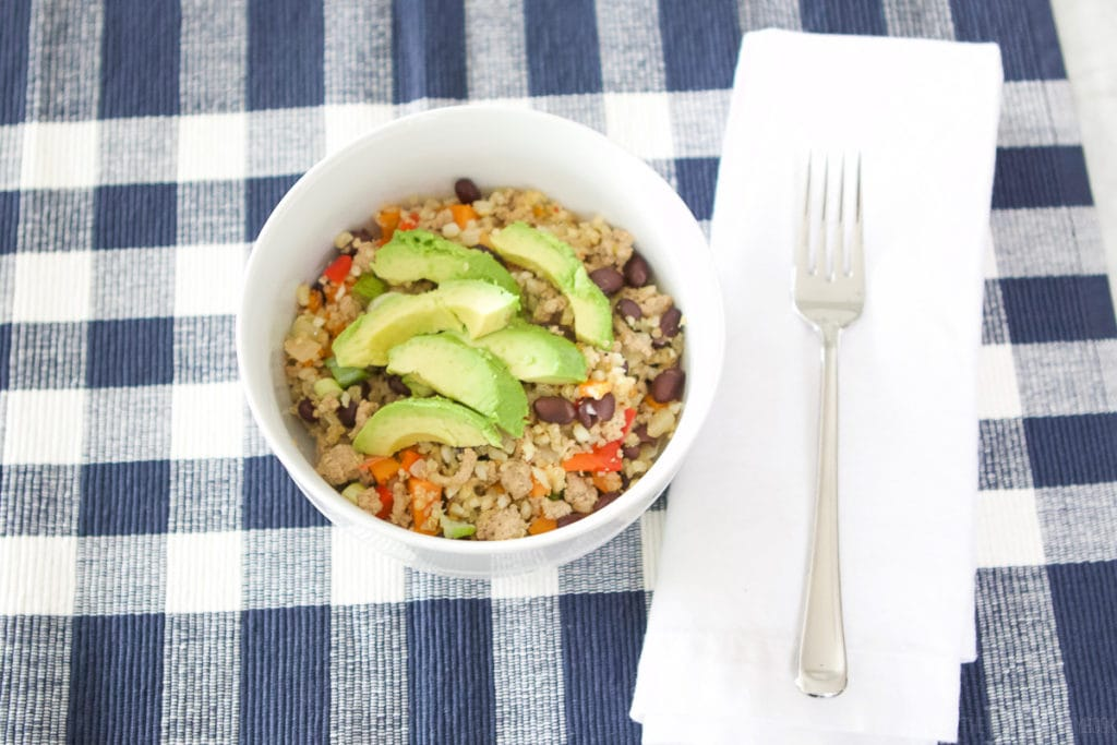 Simple protein bowl with avocado, veggies, and turkey