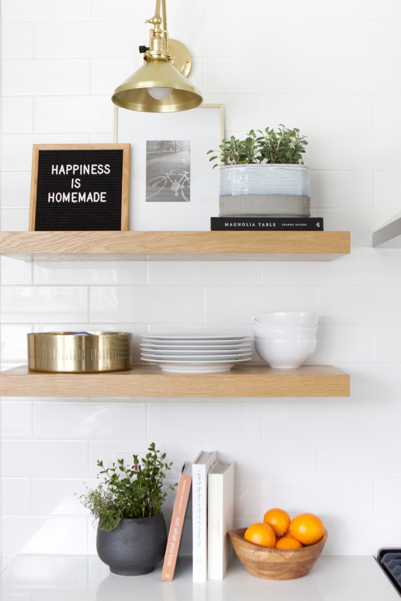 kitchen shelves with herbs
