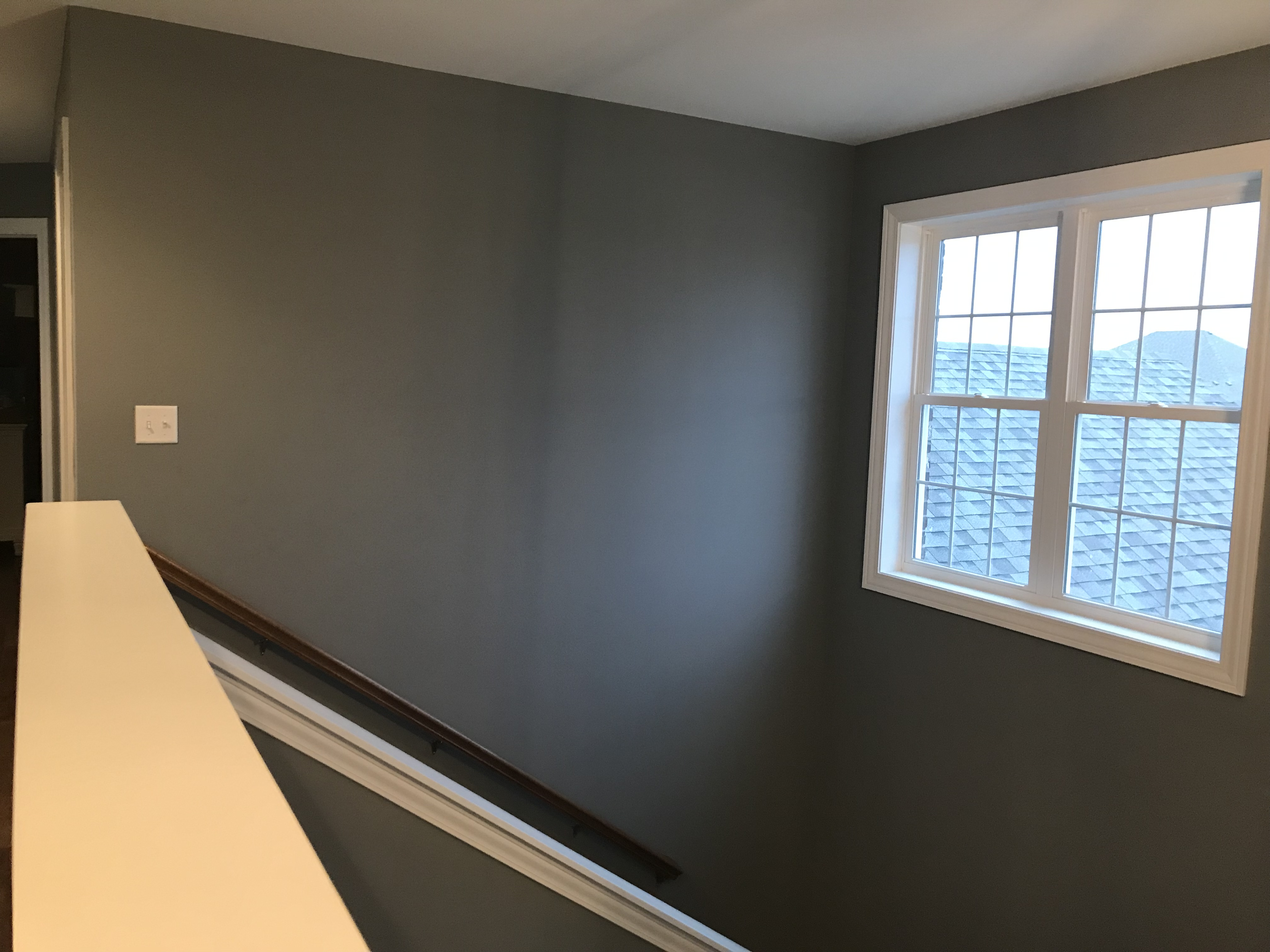 Blank wall on staircase