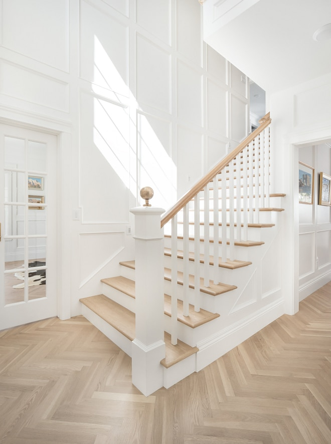 Stairwell Transformation with Wood wall treatment