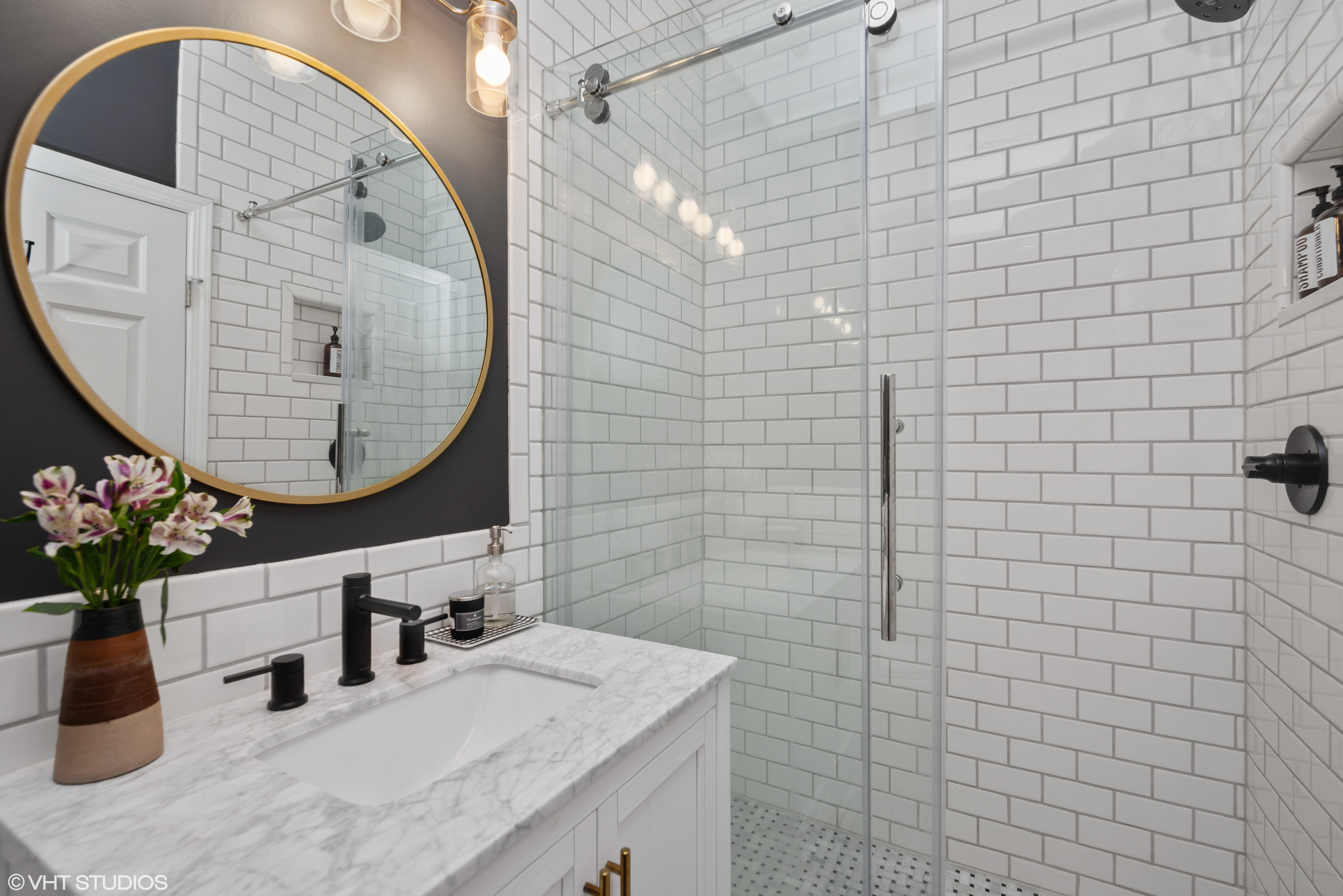 The subway tile bathroom in our chicago condo