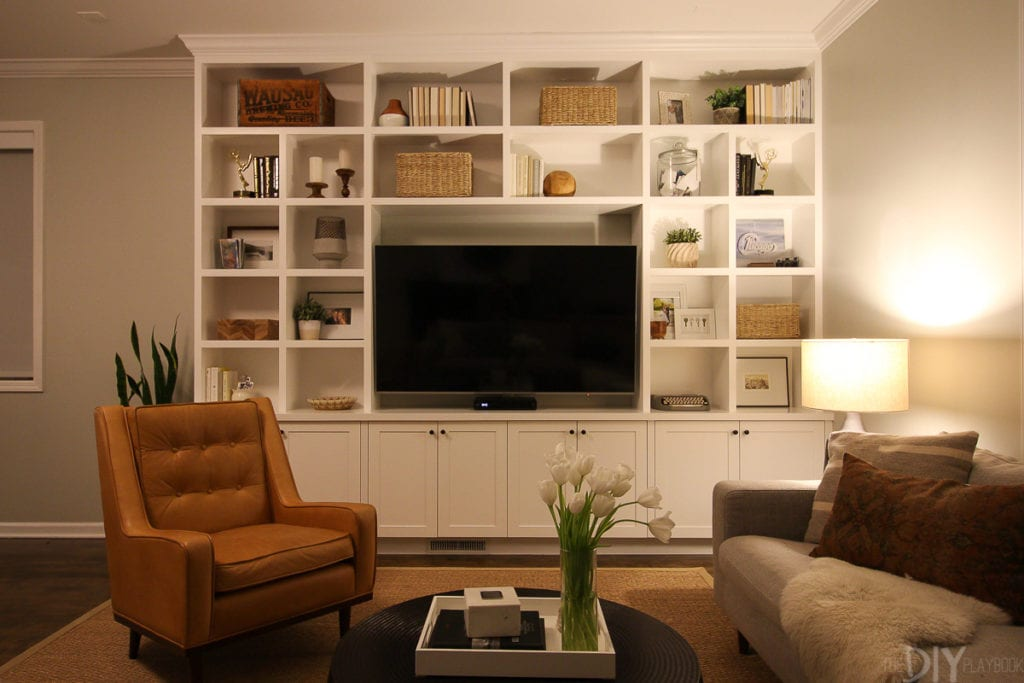 Built-ins in family room during the evening