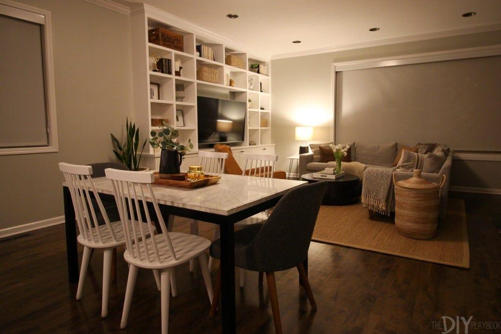 Family room in condo after dark