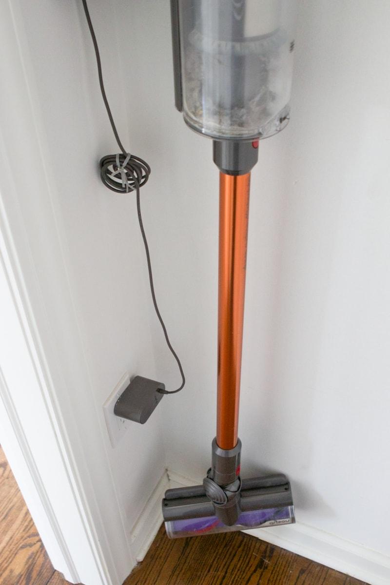 dyson vacuum hidden in a closet