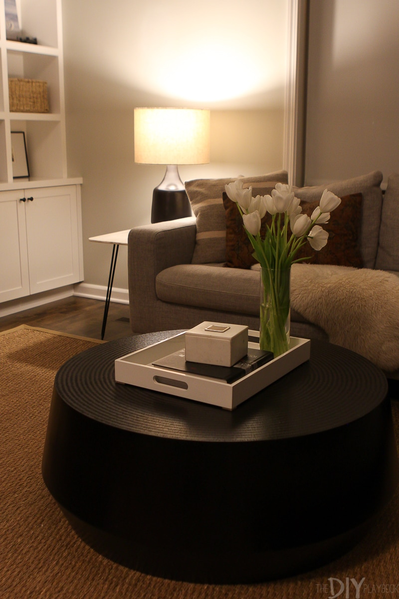 Table lamp in a living room