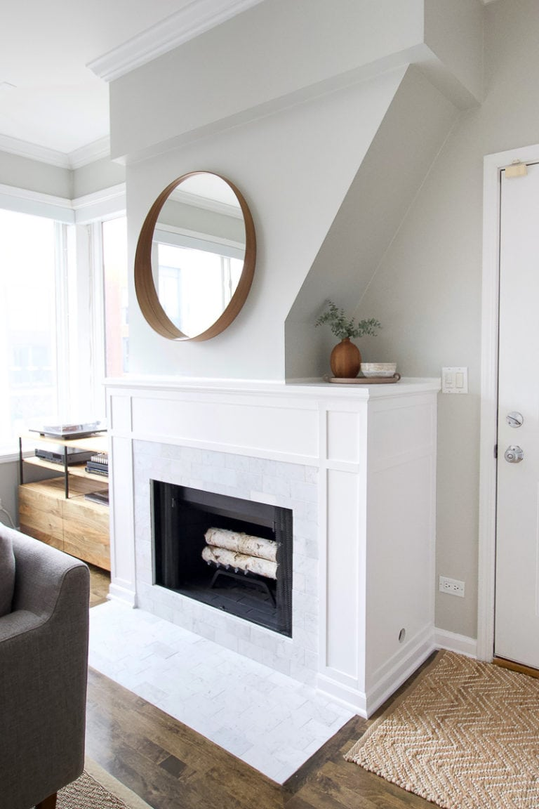 DIY marble fireplace makeover