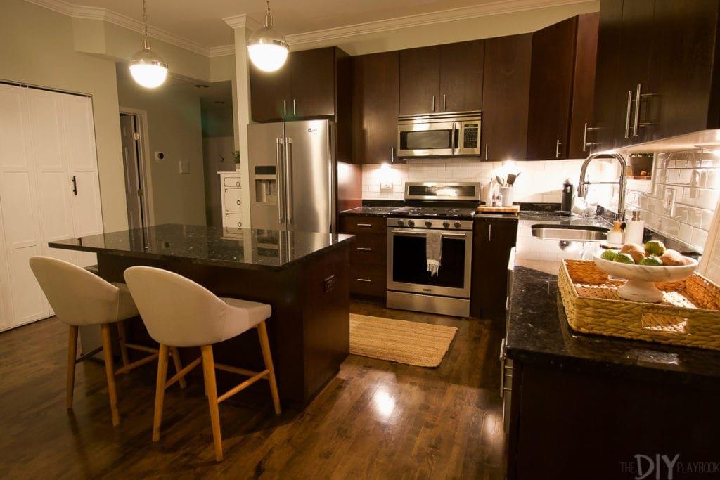Chicago condo after dark the kitchen space