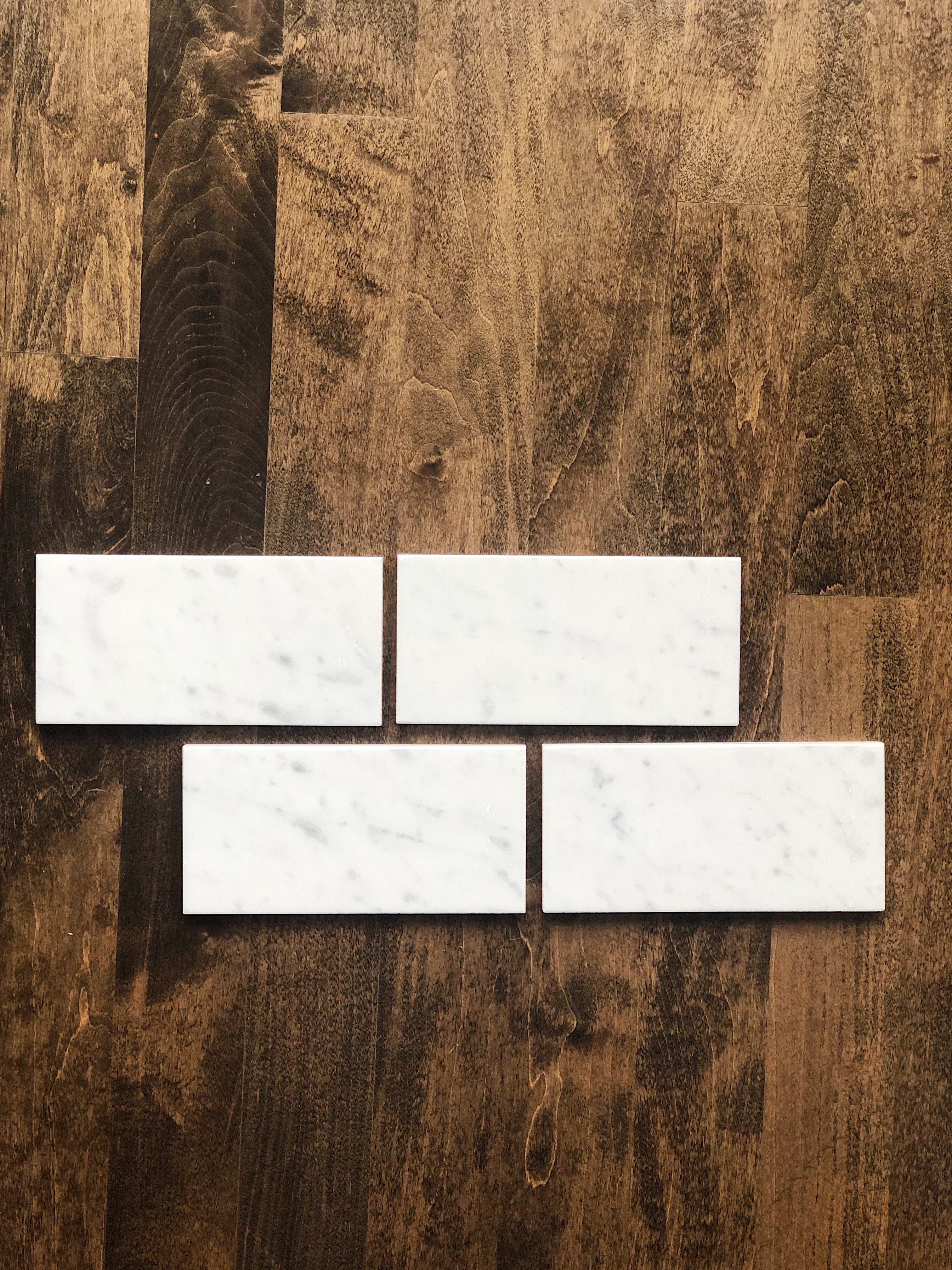 Marble subway tile for fireplace makeover