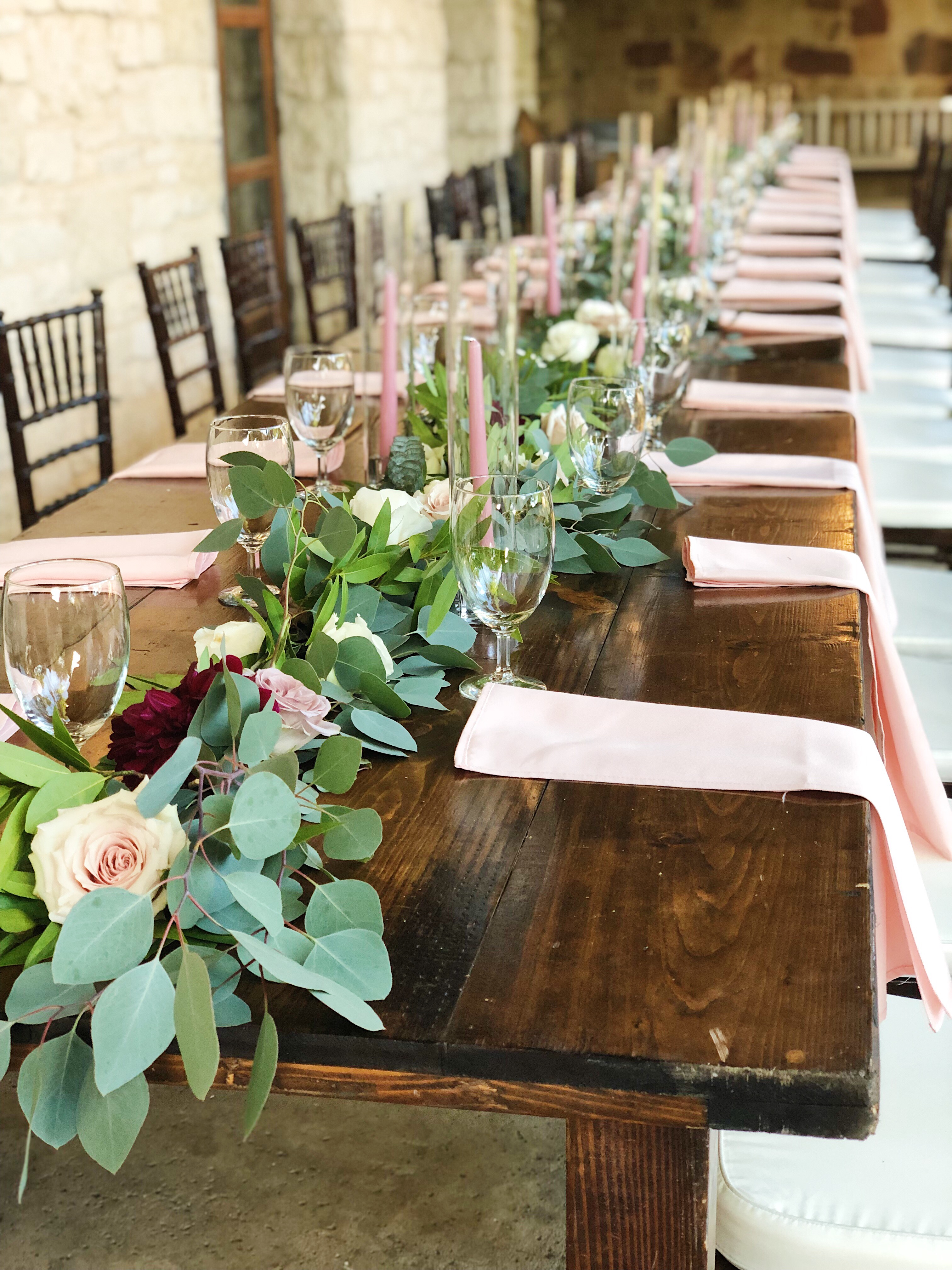 Wedding tablescape with flowers