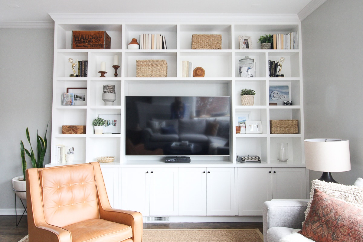 Built-in shelves before paring down to sell