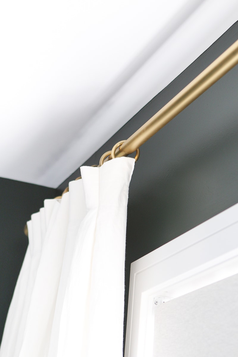 Gold curtain rod and curtain rings