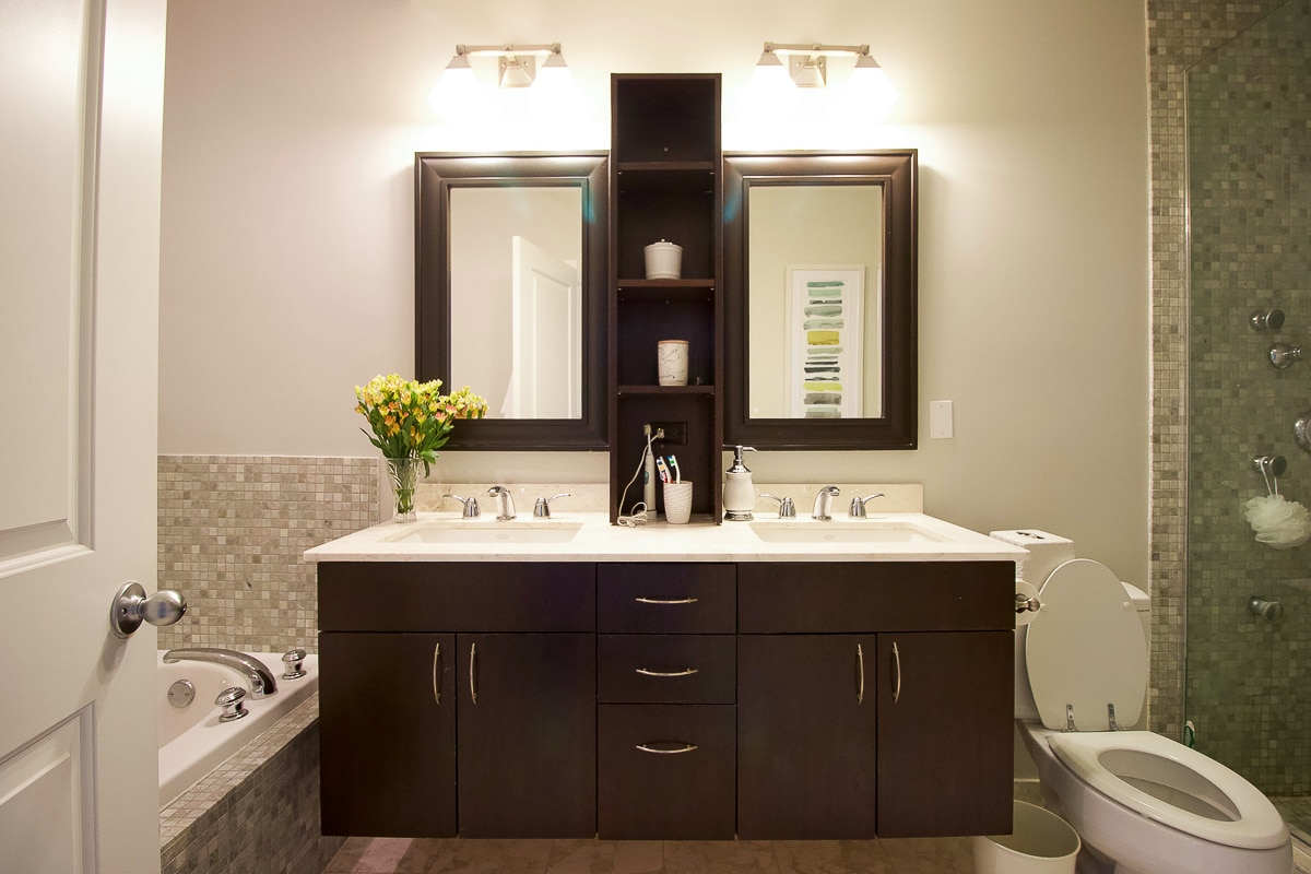 A builder-basic vanity in need of a master bathroom refresh