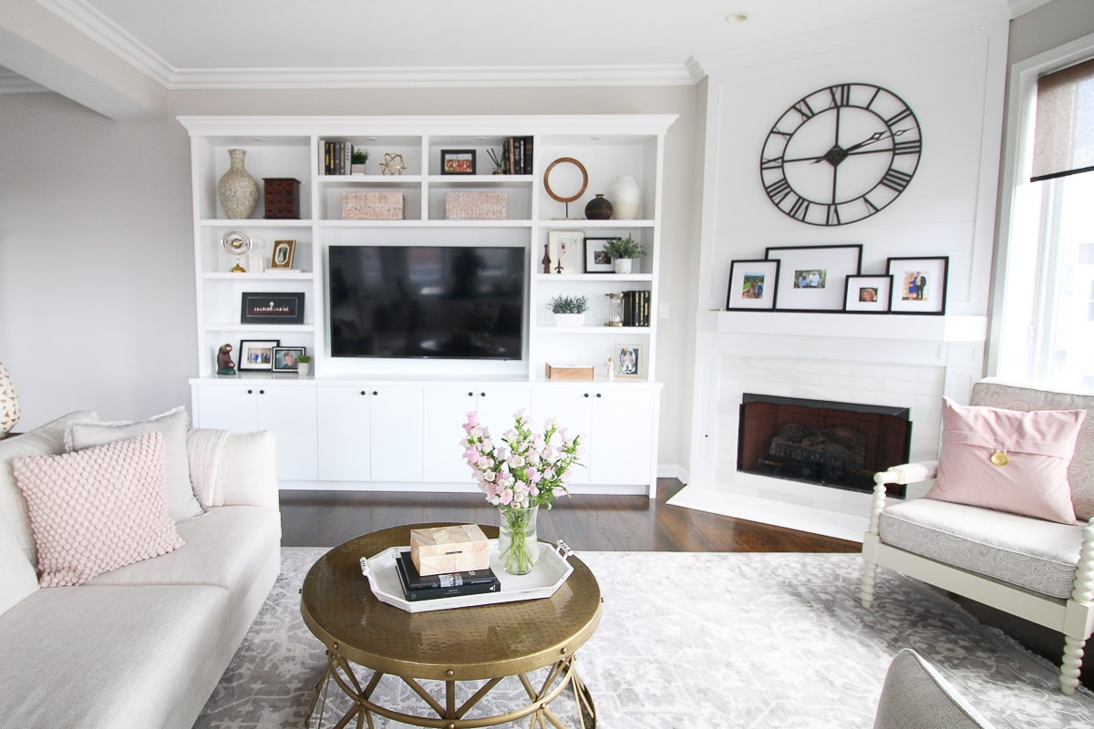 White and blush family room space