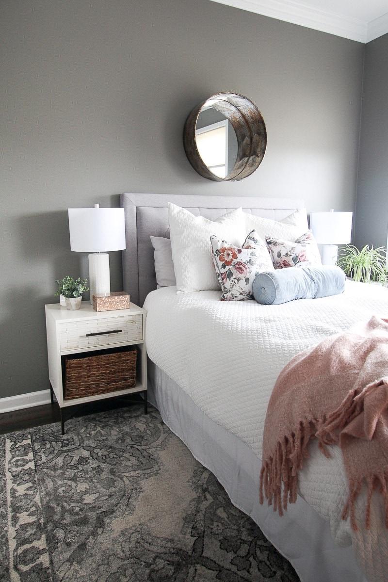 Dark gray guest room