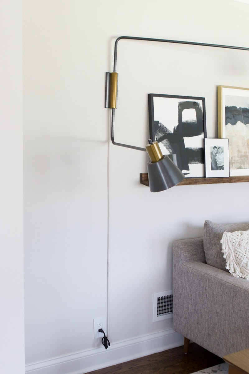 installing and hiding cords from sconce