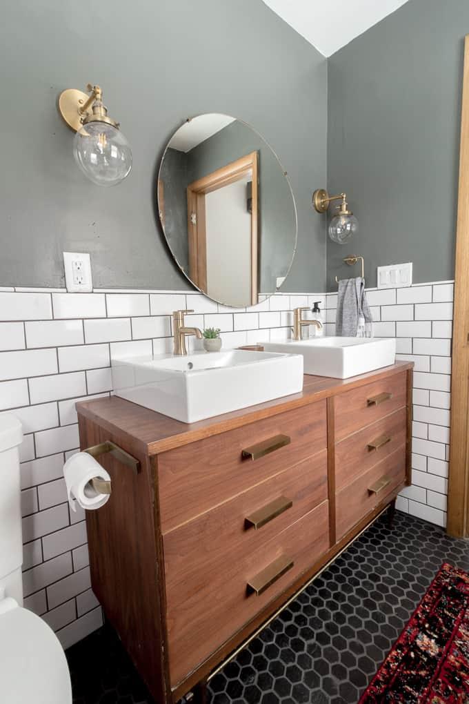 Wood dresser turned vanity