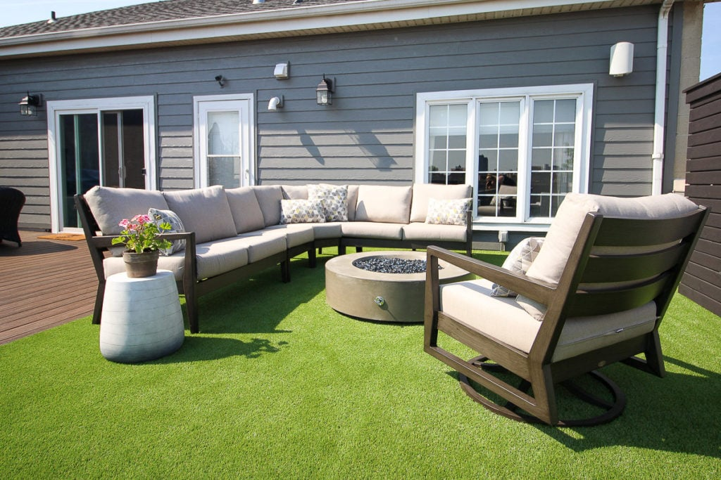 Rooftop furniture with turf