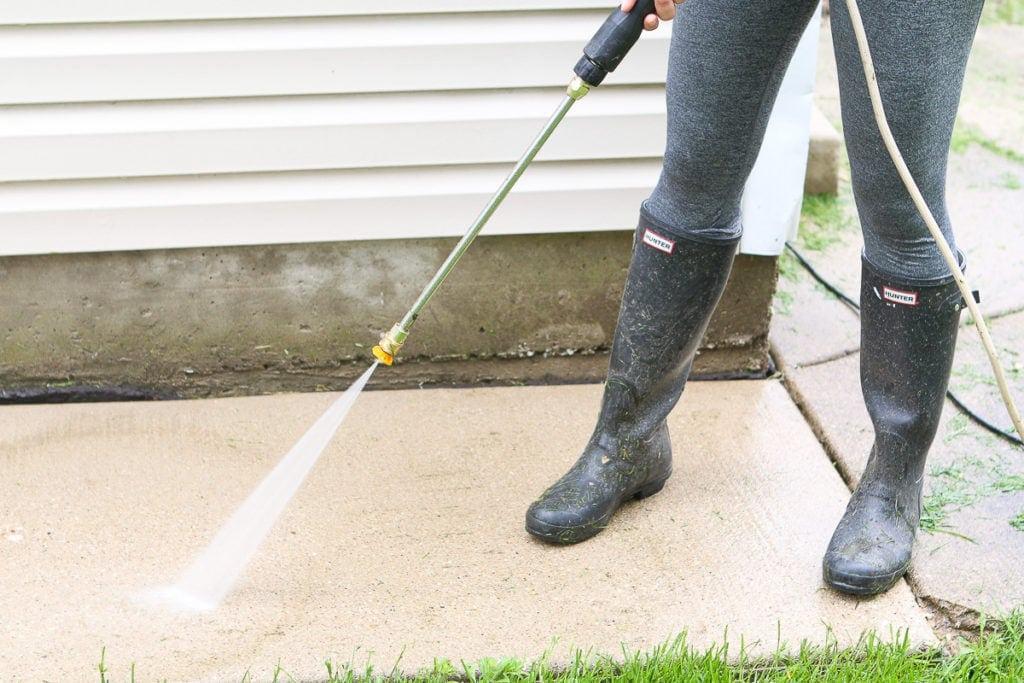 Wear boots when power washing