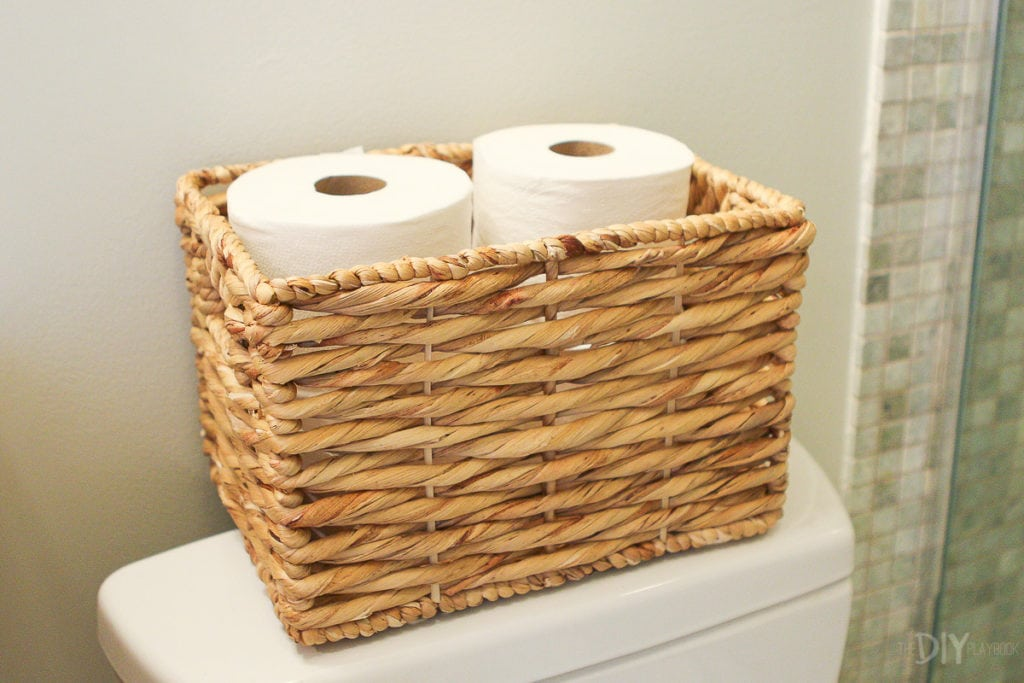 Basket with toilet paper in the bathroom